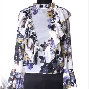 On Twelfth Ruffled Bib Floral Blouse Size S